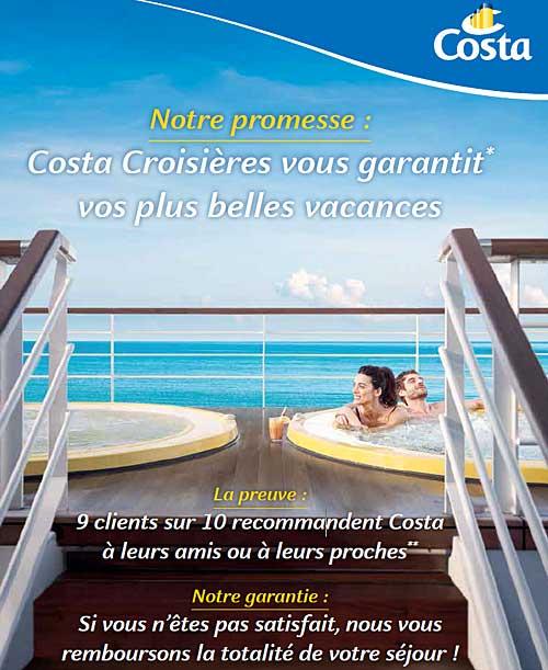 Offre Satisfait ou Remboursé de Costa Croisières (*voir les conditions de l'offre)