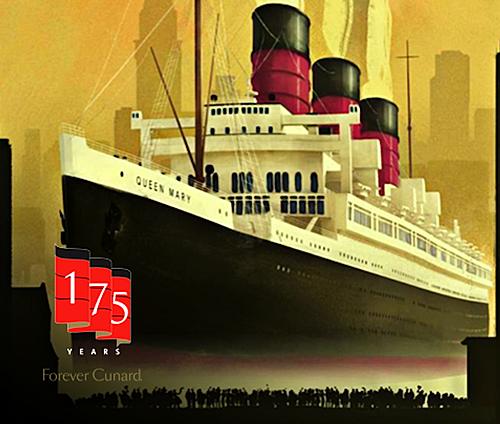 Les mythiques cheminées rouges et noires caractéristiques de la Compagnie Cunard...