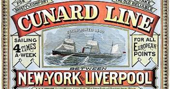Affiche d'époque de la compagnie Cunard
