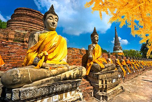 Statues de Buddha à Ayutthaya en Thaïlande
