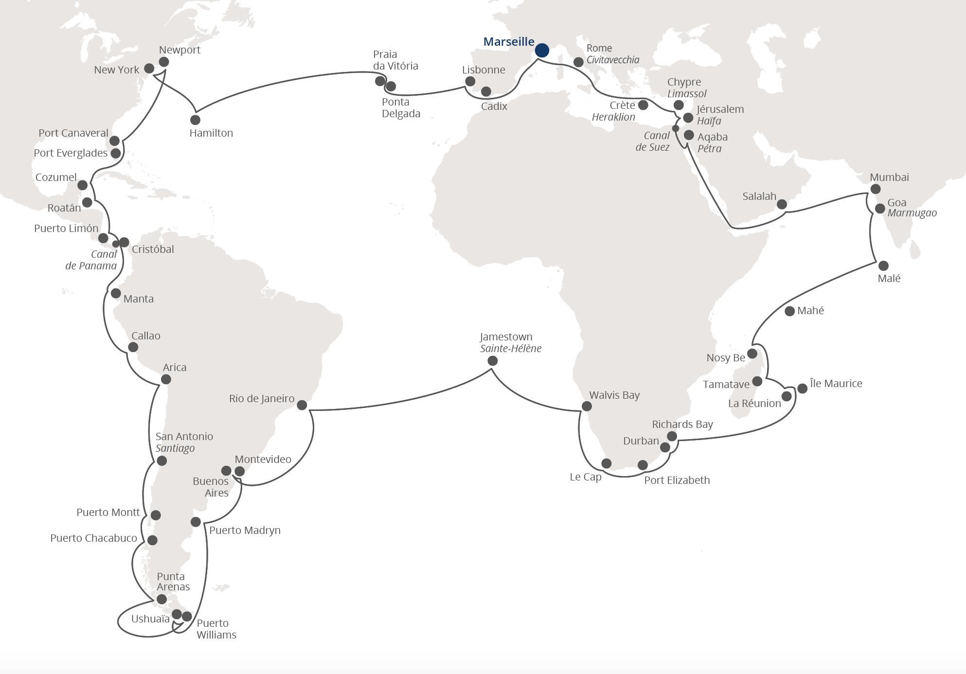 Itinéraire du tour du monde Costa Croisières 2021