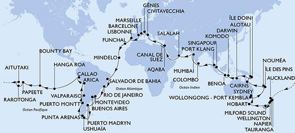 Tour du Monde MSC CroisItinéraire du Tour du Monde MSC Croisières 2020ières 2020