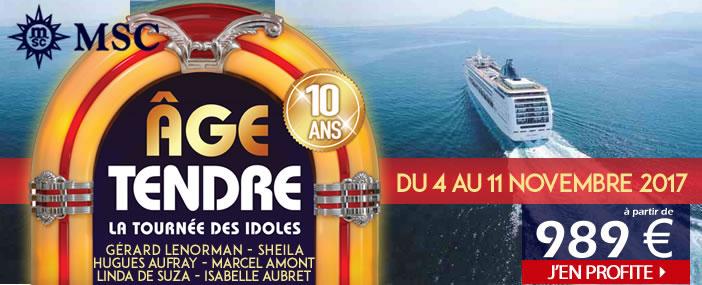 Croisière Age Tendre 2017 : la Tournée des Idoles |