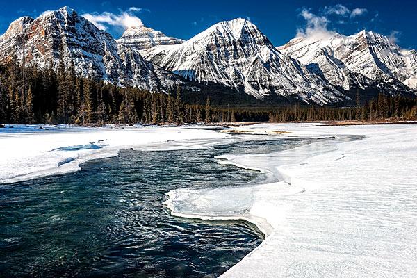 Exemple de paysage enneigé au Canada