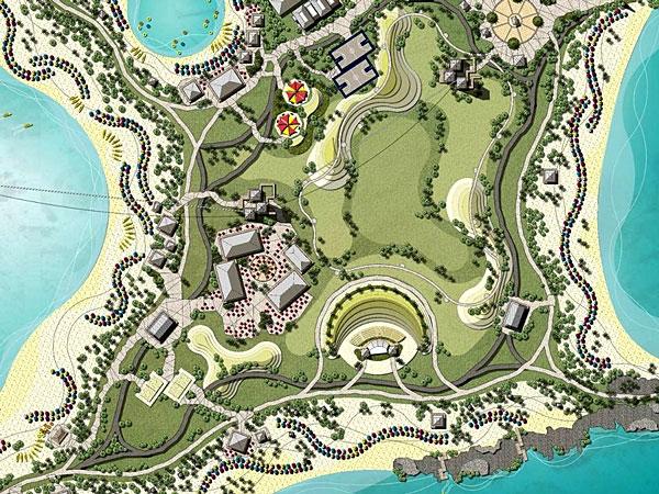 L'île d'Ocean Cay en vue de dessus avec illustrations des futurs aménagements dont l'amphithéâtre