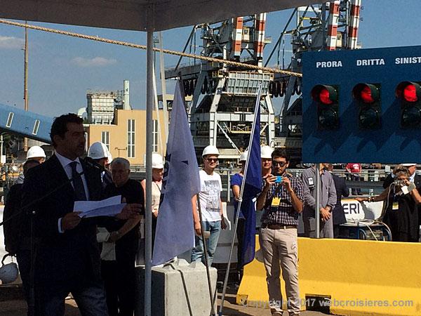 Discours de Gianni Onorato (PDG MSC Croisières) avant mise à flot du MSC Seaview