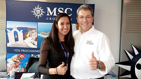 De gauche à droite : Naoual Trung représentante de la compagnie MSC Croisières et Maurizio Spinetta Président Directeur Général du groupe Jet-travel / Webcroisieres.com