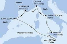 Itinéraire de la croisière inaugurale