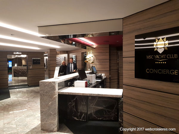 Le MSC Seaside dispose d'un espace Yacht Club comprenant cabines de luxe, service de conciergerie et restaurant intégré, solarium...