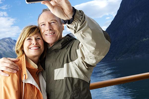 Selfie sur le pont d'un navire de croisière