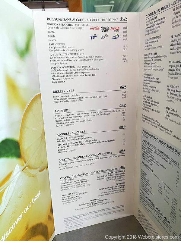 La carte des cocktails et autres boissons
