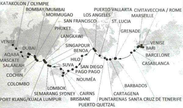 Itinéraire de notre tour du monde