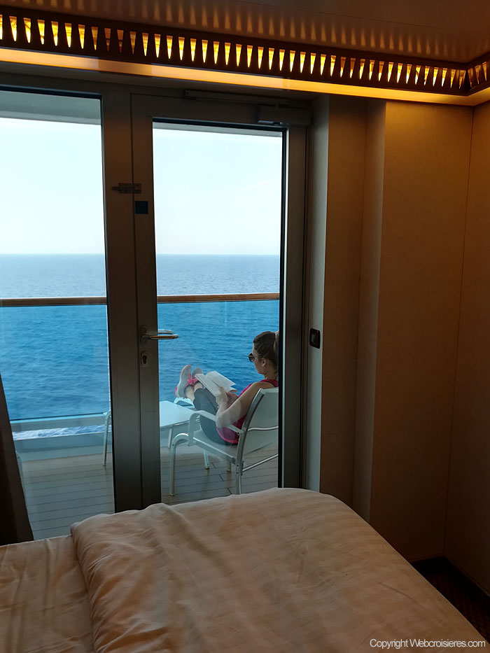 Un moment de détente sur le balcon de notre cabine
