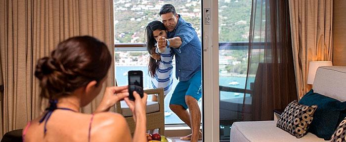 Photo prise par une croisièriste dans une cabine avec balcon