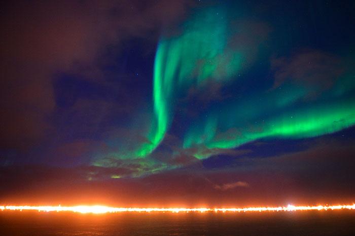 Photo d'une aurore boréale (Arctique)