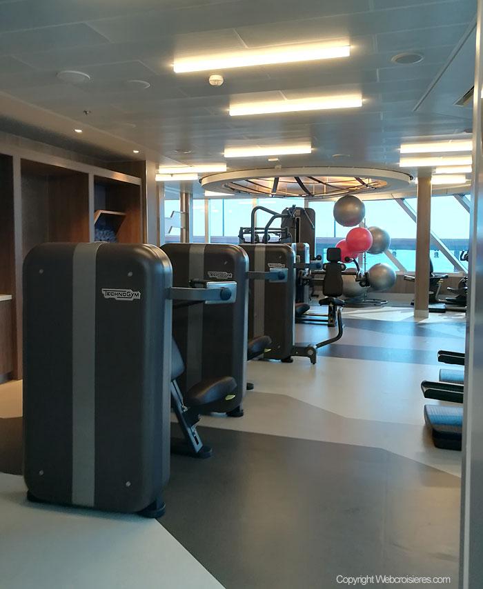 Machines de musculation présentes dans l'espace de remise en forme du bateau.