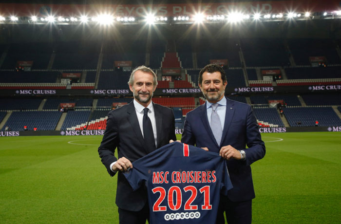 Jean Claude Blanc (directeur général délégué du PSG) et Gianno Onorato (PDG MSC)