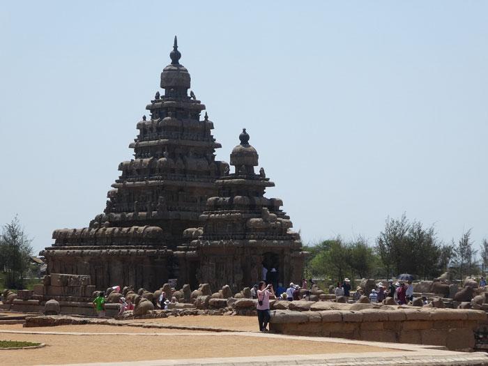Shore temple situé en bord de mer à Mahabalipuram